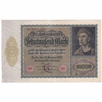 Germany Paper Money 1922 10,000 Mark, Eagle EF (hole)