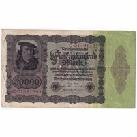 Germany Paper Money 1922 50,000 Mark, w/Under VF (hole)