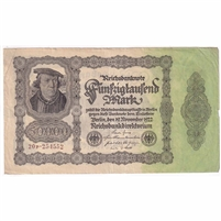 Germany Paper Money 1922 50,000 Mark, w/o Under EF (tear)
