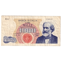 Italy Note Pick #96a 1962 1000 Lire, Very Fine
