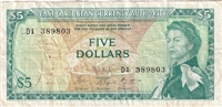 East Caribbean States Note Pick #14h 1965 5 Dollars, Signature 9, Very Fine