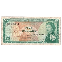 East Caribbean States Note Pick #14a 1965 5 Dollars, Signature 1, Fine