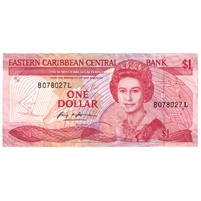 East Caribbean States Note Pick #17l 1985-88 1 Dollar, VF-EF