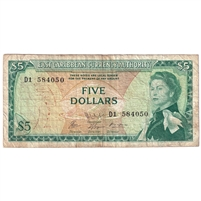 East Caribbean States Note Pick #14h 1965 5 Dollars, Signature 9, Fine