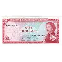 East Caribbean States Note Pick #13e 1965 1 Dollar, Signature 8, UNC