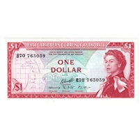 East Caribbean States Note Pick #13f 1965 1 Dollar, Signature 10, UNC