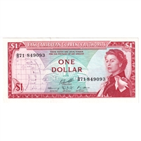 East Caribbean States Note Pick #13f 1965 1 Dollar, Signature 10, AU