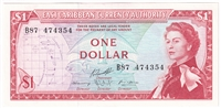 East Caribbean States Note Pick #13g 1965 1 Dollar, Signature 10, UNC