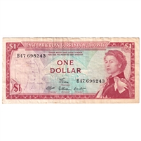 East Caribbean States Note Pick #13d 1965 1 Dollar, Signature 7, Extra Fine