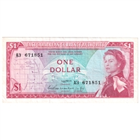 East Caribbean States Note Pick #13a 1965 1 Dollar, Signature 1, Very Fine