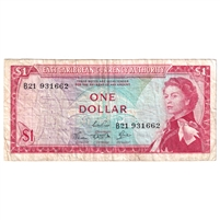 East Caribbean States Note Pick #13c 1965 1 Dollar, Signature 4, Very Fine