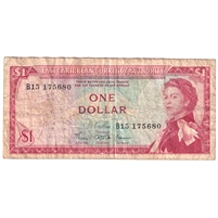 East Caribbean States Note Pick #13b 1965 1 Dollar, Signature 3, Fine