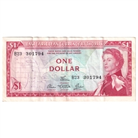 East Caribbean States Note Pick #13d 1965 1 Dollar, Signature 5, VF-EF