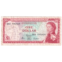 East Caribbean States Note Pick #13f 1965 1 Dollar, Signature 9, Very Fine