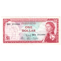 East Caribbean States Note Pick #13f 1965 1 Dollar, Signature 9, Extra Fine