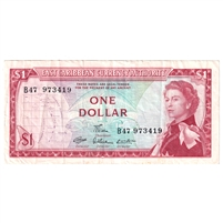 East Caribbean States Note Pick #13d 1965 1 Dollar, Signature 7, Very Fine
