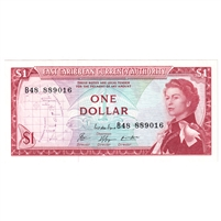 East Caribbean States Note Pick #13e 1965 1 Dollar, Signature 8, AU