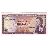 East Caribbean States Note Pick #15g 1965 20 Dollars, Signature 9, Very Fine