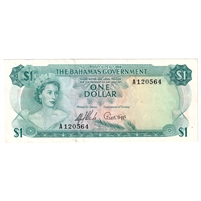 Bahamas Note Pick #18a 1965 1 Dollar, 2 Signatures, EF-AU