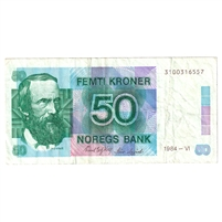 Norway Note Pick #42a 1984 50 Kroner, Very Fine