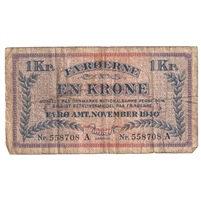 Faeroe Islands Pick #9 1940 1 Krone, Very Good