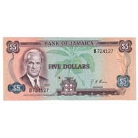 Jamaica Note Pick #56 5 Dollars, AU-UNC