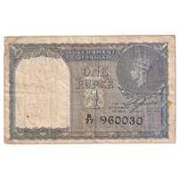 India Note Pick #25a 1940 1 Rupee, Fine (stain)