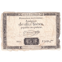 France Note Pick #A55 1792 25 Sols, Extra Fine (holes)