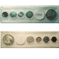 1935 Canada 5-coin Year Set in Snap Lock Case
