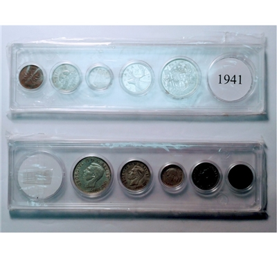 1941 Canada 5-coin Year Set in Snap Lock Case