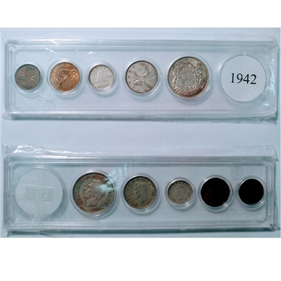 1942 Canada 5-coin Year Set in Snap Lock Case