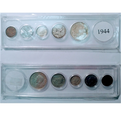1944 Canada 5-coin Year Set in Snap Lock Case