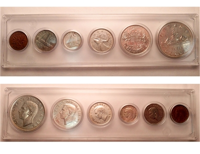 1951 Canada 6-coin Year Set in Snap Lock Case
