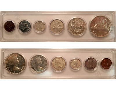 1953 Canada 6-coin Year Set in Snap Lock Case
