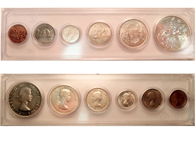 1956 Canada 6-coin Year Set in Snap Lock Case