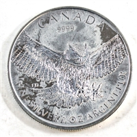2015 Canada Horned Owl $5 Commemorative .9999 Fine Silver (toned) No Tax