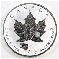 2016 Canada Grizzly Privy $5 Silver Maple Leaf .9999 Fine (toned) No Tax