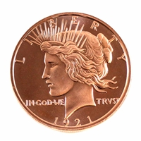 Pure .999 1oz. Fine Copper - 1921 Peace Dollar Portrait (No Tax) copper5