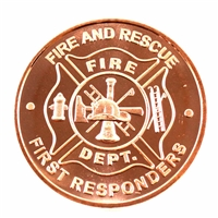 Pure Copper 1oz. .999 Fine - Fire Dept. Fire And Rescue (No Tax) - Copper14