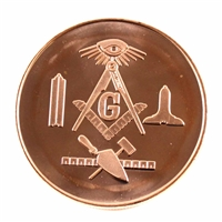 Pure Copper 1oz. .999 Fine Copper - Masonic (Copper18) No Tax