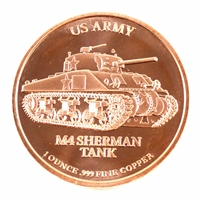 Pure Copper 1oz. .999 Fine Copper- M4 Sherman Tank US Army (Copper20) No Tax