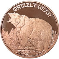 Pure Copper 1oz. .999 Fine - Grizzly Bear (No Tax)
