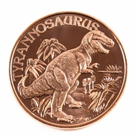 Pure Copper 1oz. .999 Fine - Dinosaurs - Tyrannosarus Rex (TAX Exempt) Copper 36