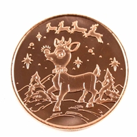 Pure .999 1oz. Fine Copper Round- Rudolph (TAX Exempt) copper37