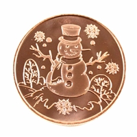 Pure Copper 1oz. .999 Fine Copper - Snowman (copper38) No Tax