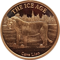 Pure Copper 1oz. .999 Fine - The Ice Age - Cave Lion (TAX Exempt)