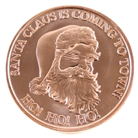 Santa Claus is coming to Town Snowflake design 1oz. pure copper round. (no tax)