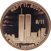 Pure Copper 1oz. .999 Fine - 9/11 Twin Towers (No Tax)
