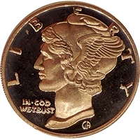 Pure Copper 1oz. .999 Fine - Mercury Dime (No Tax)
