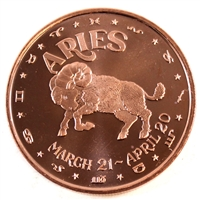 Pure Copper - Zodiac Aries 1oz Fine Copper (No Tax)